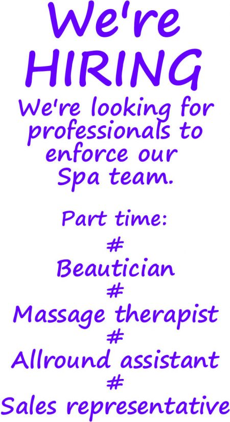 beauty inside outs spa hiring